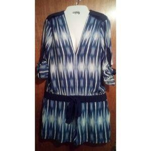 BCBG MaxAzria blue & white pattern romper